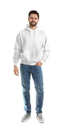 Full length portrait of young man in sweater isolated on white. Mock up for design