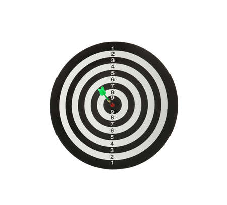 Green arrow hitting target on dart board against white background