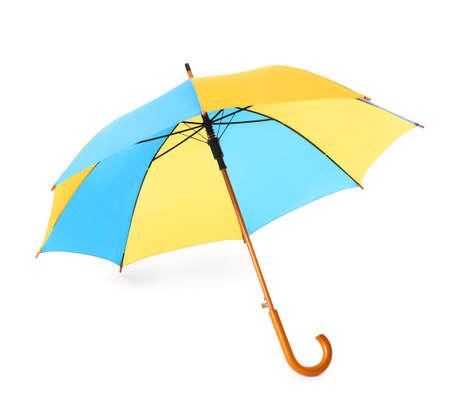 Modern opened bright umbrella isolated on white
