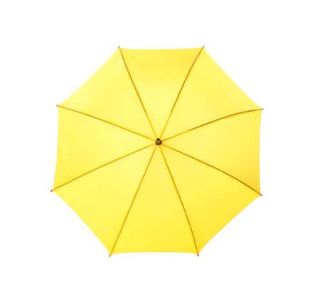 Modern opened yellow umbrella isolated on white