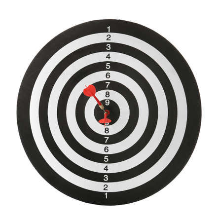Red arrows hitting target on dart board against white background