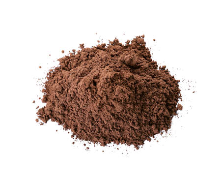 Pile of chocolate protein powder isolated on white