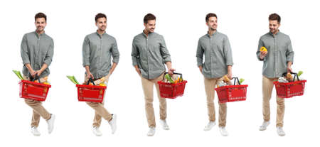 Set of young man with shopping basket on white background