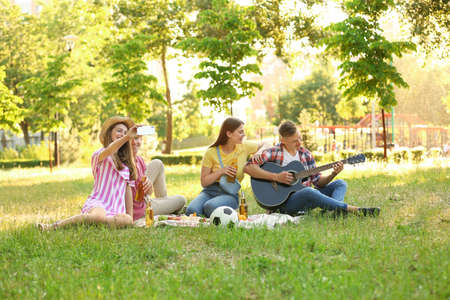 Young people enjoying picnic in park on summer day Standard-Bild