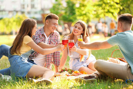 Young people enjoying picnic in park on summer day Banco de Imagens