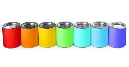Closed blank cans of paint isolated on white