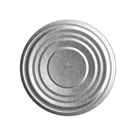 Closed tin can isolated on white, top view Foto de archivo