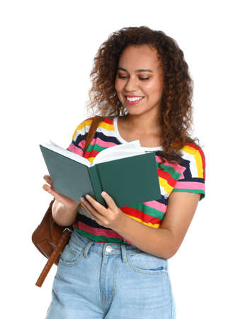 Beautiful African-American woman reading book on white background