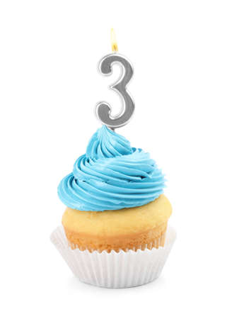 Birthday cupcake with number three candle on white background