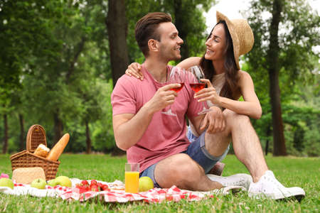 Happy young couple having picnic in park on summer day 写真素材