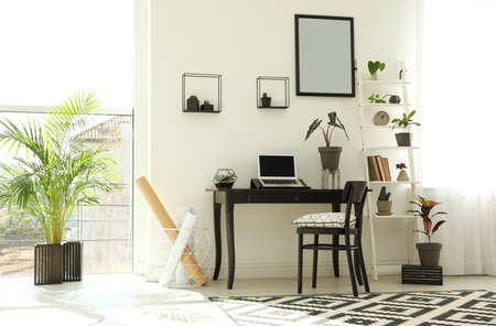 Trendy room interior with different home plants and laptop on table. Space for text