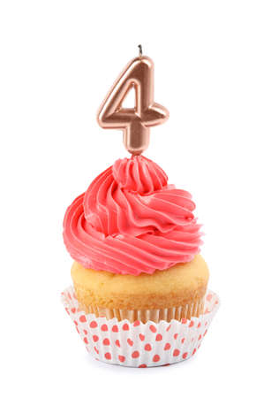 Birthday cupcake with number four candle on white background