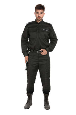 Male security guard in uniform on white background Stockfoto