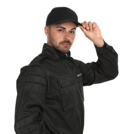 Agent de sécurité masculin en uniforme sur fond blanc Banque d'images