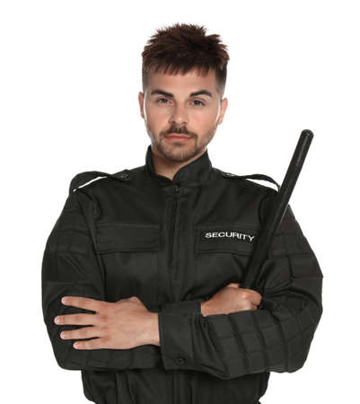 Male security guard in uniform with police baton on white background