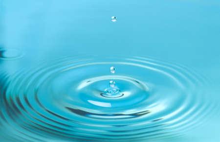 Splash of blue water with drop, closeup