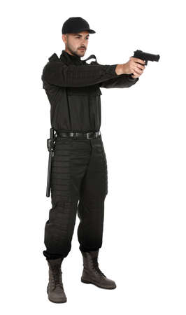Male security guard in uniform with gun on white background