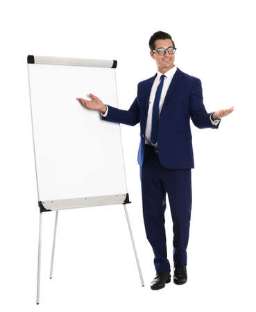 Professional business trainer near flip chart on white background
