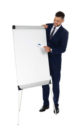 Professional business trainer near flip chart board on white background. Space for text