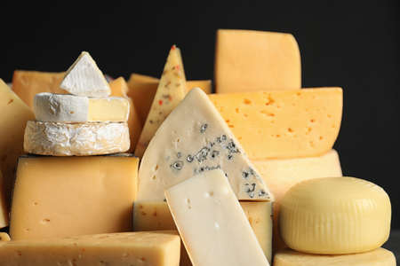 Many different types of delicious cheese, closeup 免版税图像