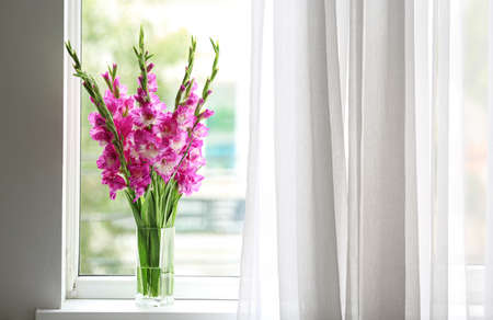 Vase with beautiful pink gladiolus flowers on windowsill, space for text Stock fotó