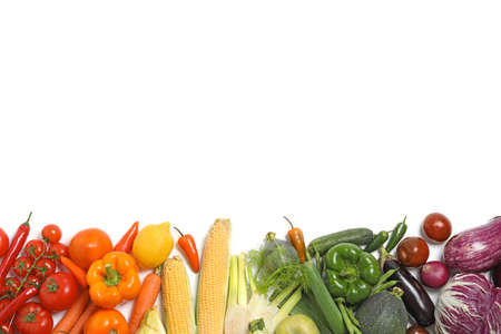 Many different fresh vegetables on white background, top view