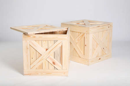Pair of wooden crates on grey background Stock Photo