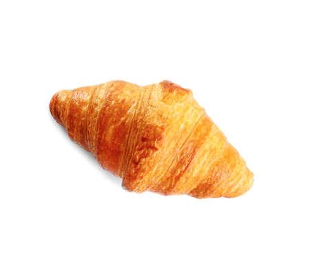 Croissant fresco e gustoso su sfondo bianco, vista dall'alto. pasticceria francese