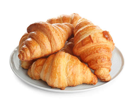 Plate with tasty croissants on white background. French pastry Banco de Imagens