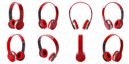 Set of modern red headphones on white background