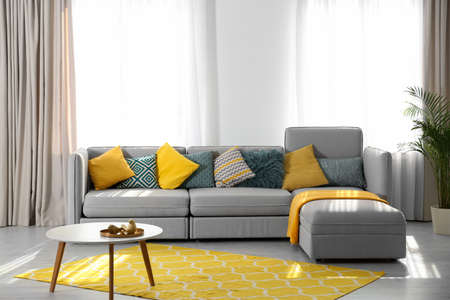 Stylish living room interior with comfortable sofa. Space for text