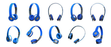 Set of modern blue headphones on white background