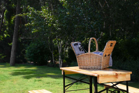 Open picnic basket on wooden table in green park. Space for text Stockfoto