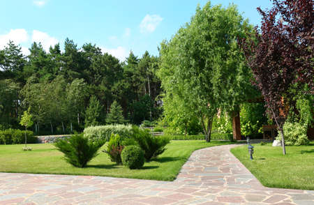 Picturesque landscape with beautiful green garden on sunny day Stockfoto - 128583892