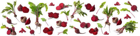 Set of delicious beets on white background. Banner design Stock Photo
