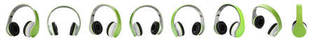 Set of modern headphones on white background. Banner design
