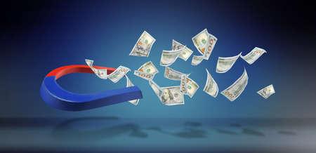 Horseshoe magnet attracting money on blue background