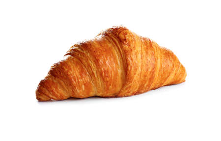 Fresh tasty croissant on white background. French pastry