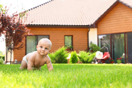Little baby boy crawling on green grass at backyard. Space for text