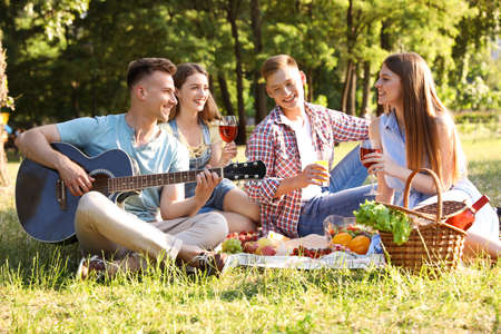 Young people enjoying picnic in park on summer day Stockfoto