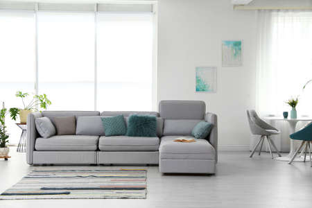 Interior de la moderna sala de estar con cómodo sofá