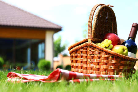 Picnic basket with fruits, bottle of wine and checkered blanket on green grass in garden. Space for text