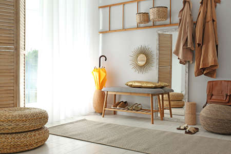 Cozy hallway interior with new stylish furniture Stock Photo