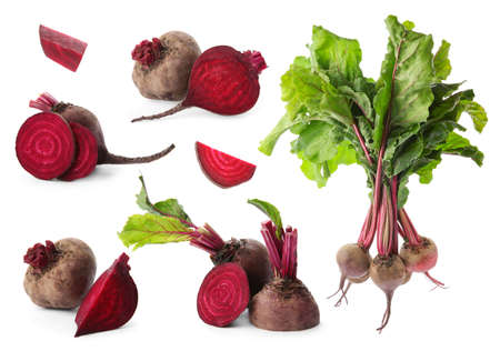 Set of delicious beets on white background