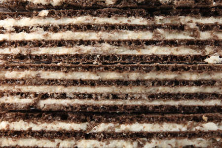 Closeup view of tasty wafer sticks as background. Sweet food Stockfoto