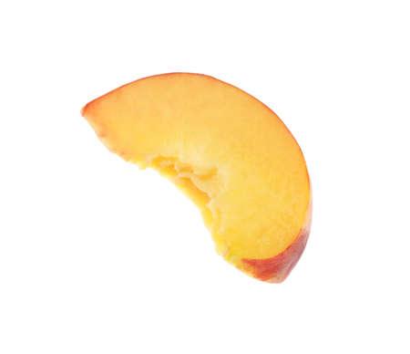 Slice of sweet juicy peach on white background