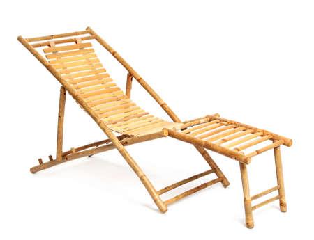 Empty wooden beach sunbed on white background