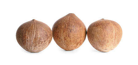 Ripe whole brown coconuts on white background Stok Fotoğraf