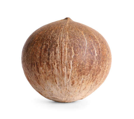 Ripe whole brown coconut on white background