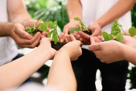 屋外で新芽を手に土壌を保持するボランティアのグループ、クローズアップ